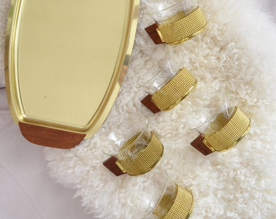 Mid century set tea glasses brass with tray gold glass brass tea Glasses