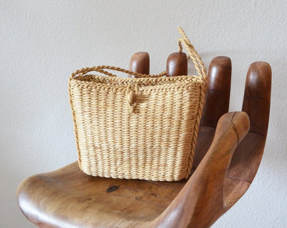 Vintage Straw bag handbag basket boho Summer
