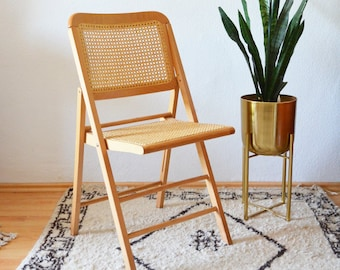 Vintage mid century rattan chair folding chair light wood with Viennese braid pipe Braid