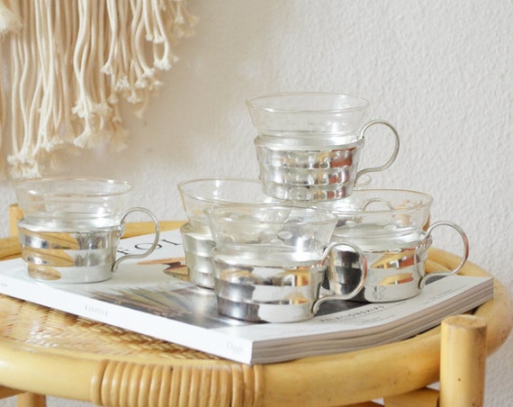 Set of 6 mid century vintage tea glasses silver cups tea glasses mug Silver mugs mid century