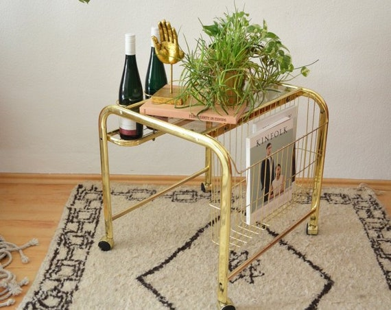 Mid Century Modern Bar car Gold messing vintage bar cart brass servierwagen tea Car side table