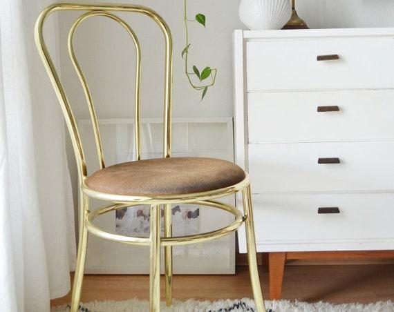 Brass bistro chair vintage brass chair boho mid century brown gold