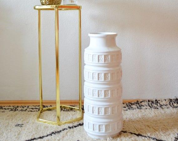 Vintage Scheurich XL Mid century floor vase, white, ceramic vase, West Germany