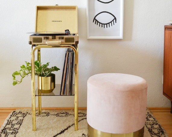 Vintage brass Shelf table record stand side table brass Gold