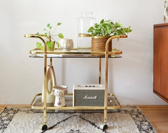 Vintage Trolley Gold brass and glass brass trolley bar cart side table mid century