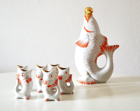 Vintage bar set white - red - gold ceramic fish carafe with 6 glasses 1960s