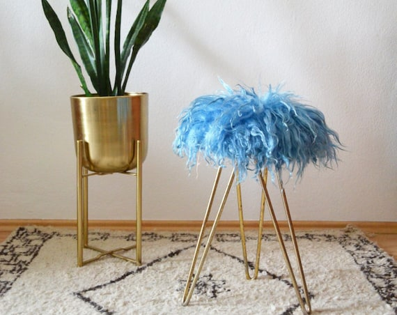 Vintage hairpin leg brass stool chair padded fur turquoise brass stool chair gold mid century