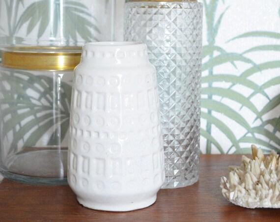 Vintage Inca Scheurich vase white white 18 cm boho mid century