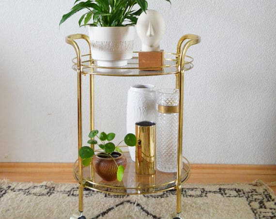 Vintage brass & glass bar trolley Mid century bar cart brass gold glass round tea trolley serving trolley side table 1950s