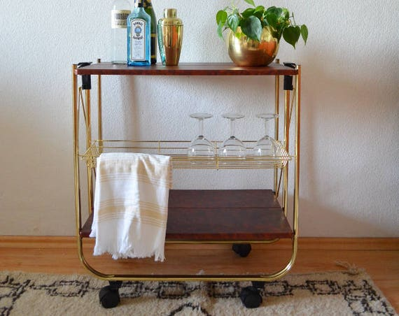 Vintage bar cart Trolley gold plated plate plate plate plate plated table