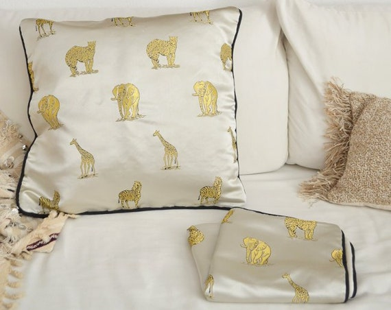 Vintage Pillow case tiger, elephant, Giraffe Cream White Boho satin 50 x 50
