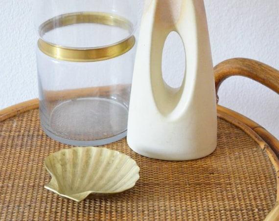 Vintage brass bowl shell brass shell boho