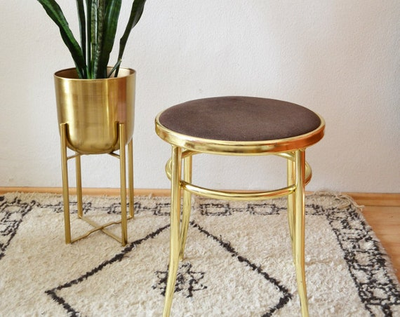 Vintage Brass Stool Chair gold mid century