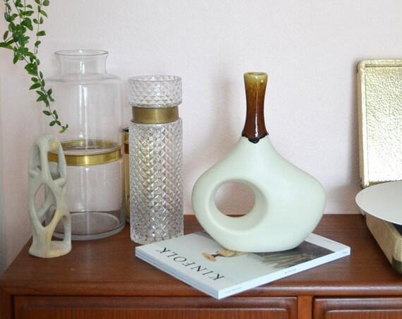 Mid century vase white-brown handmade