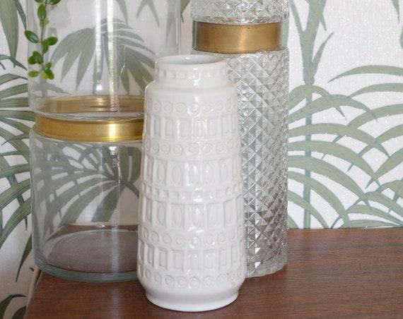 Vintage Inca Scheurich vase white white 23 cm boho mid century