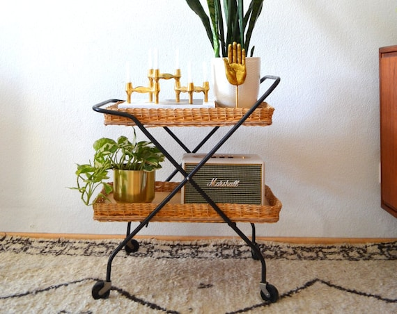 Vintage Rattan Trolley folding mid century bar cart black tea trolley trolley side Table 1950s