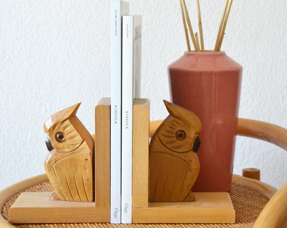 Vintage Owls Bookends Set Wooden Owl Home Decor