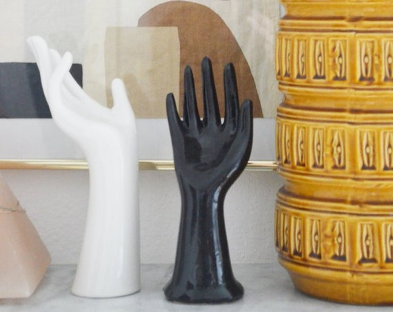 Vintage Ceramic hand Jewellery stand black