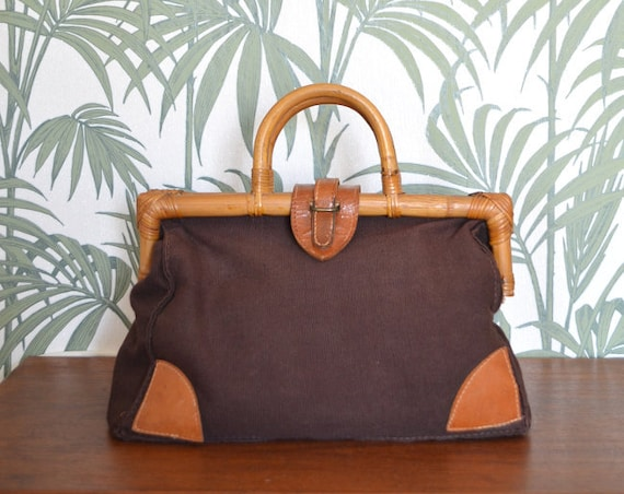 Vintage Bamboo handbag Brown Boho Leather