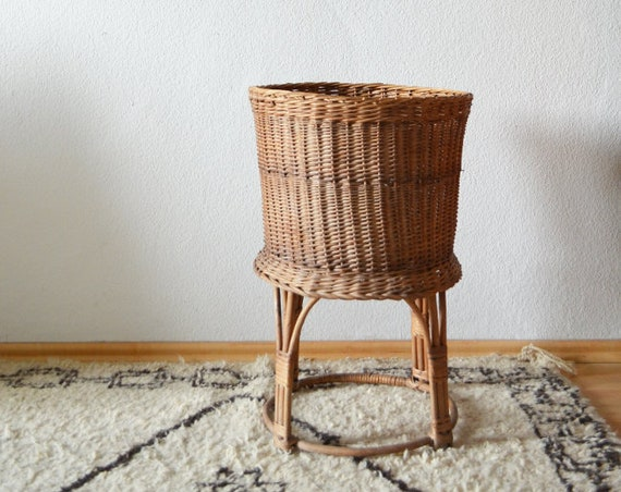 Large rattan plant stand plant stand 70s wicker Boho Vintage home Decor