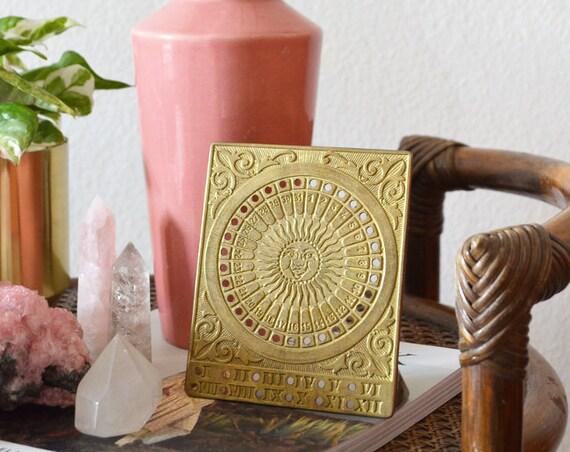 Vintage calendar in brass, table calendar sun, calender sun brass