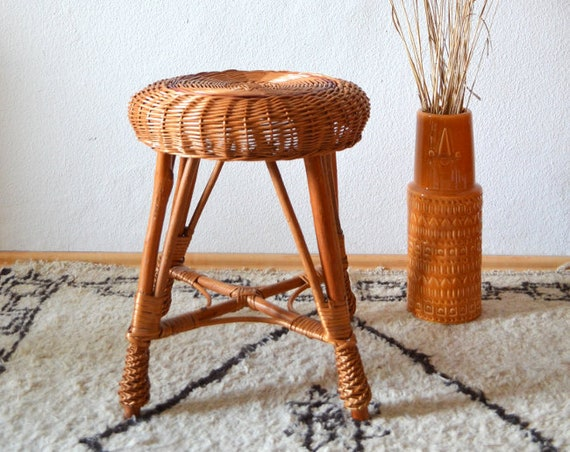 Vintage rattan stool boho around 1960 Wicker Stool Chair