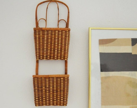 Vintage rattan Wandkorb Wicker wall Basket plants planting basket wall planter Boho