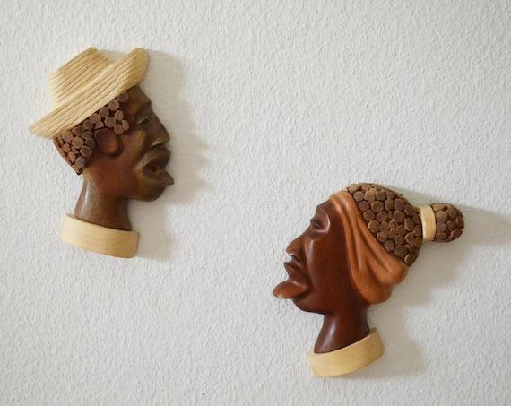 Vintage wooden masks Wall decor boho man & Woman head