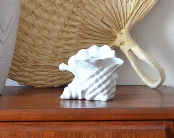 Vintage shell vase planter white shell white