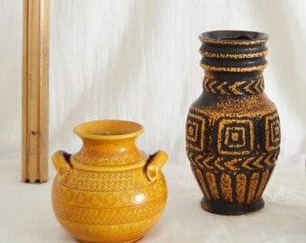Vintage Inka Scheurich Vase mustard mustard mustenfgelb matt yellow 17 cm boho mid century