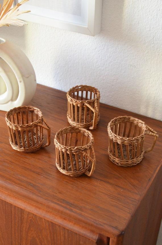 Set of 4 vintage rattan teacups, cup, basket, wicker mug boho home décor