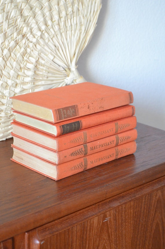 Vintage books set rust orange gold