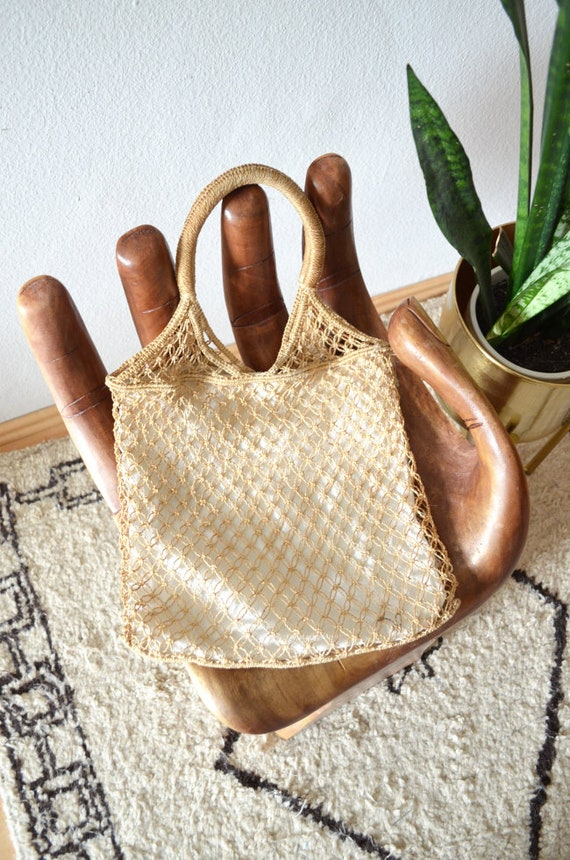 Vintage Jute Cotton Macrame bag bag hand made macrium hippie handbag boho