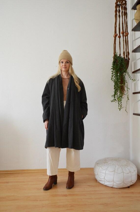 Vintage Cashmere Wool Coat Coat Jacket Grey Black S - L
