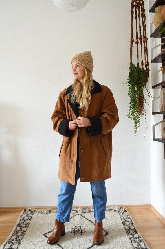 Vintage Coat Cargo Parka Jacket camel Brown Black S - L