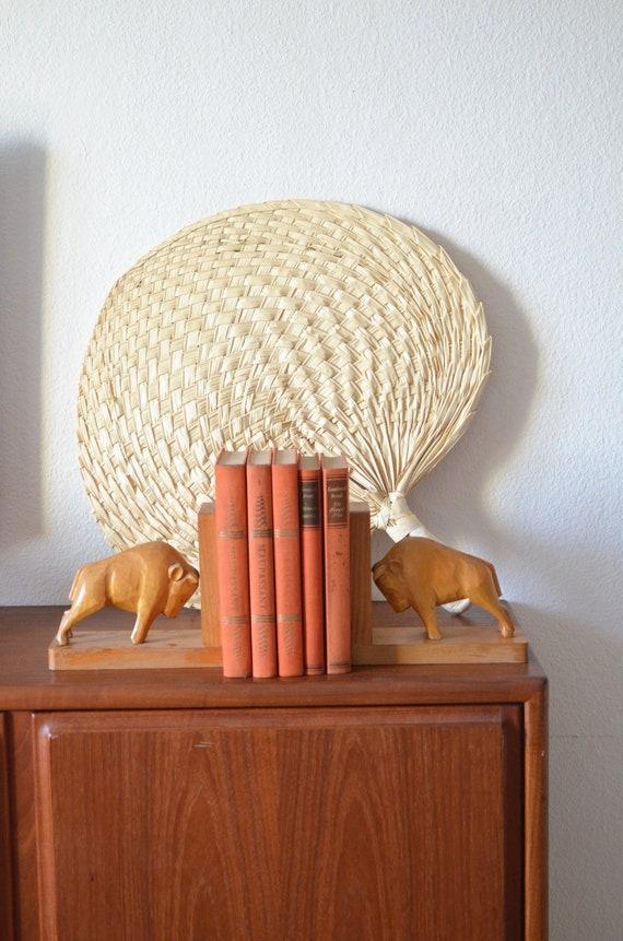 Vintage Bull Bookends Set Wooden Buffalo Home Decor