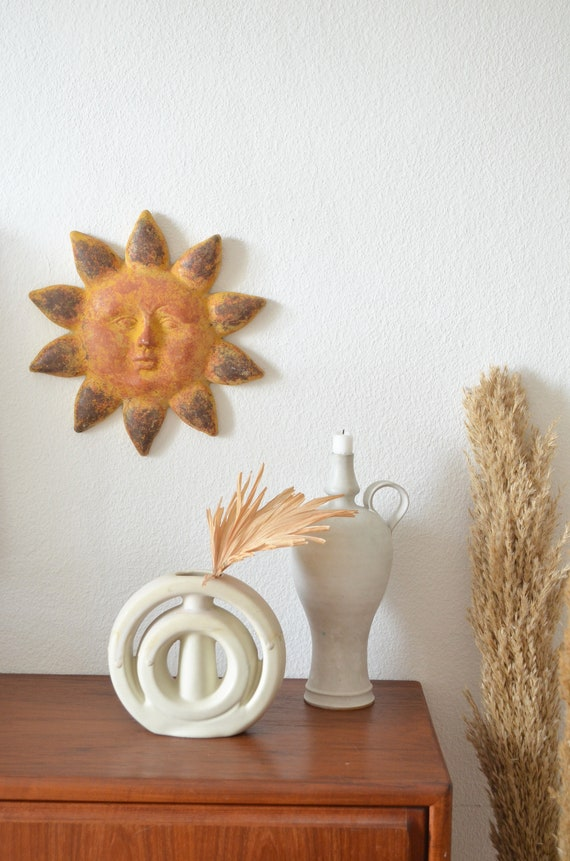 Vintage wall decoration clay terracotta sun boho picture ethno
