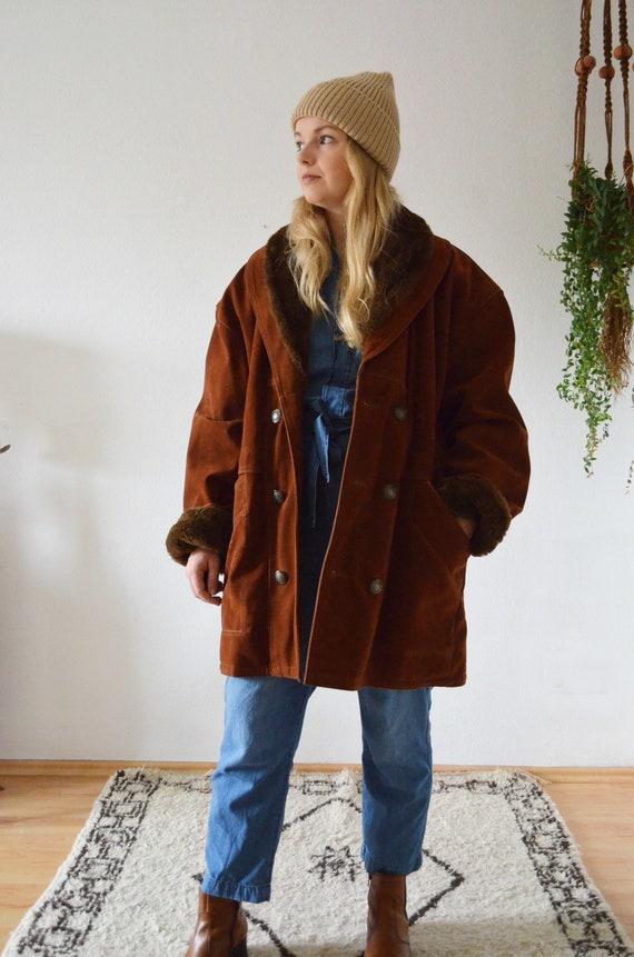 Vintage shearling coat jacket brown reddish brown rust S - L