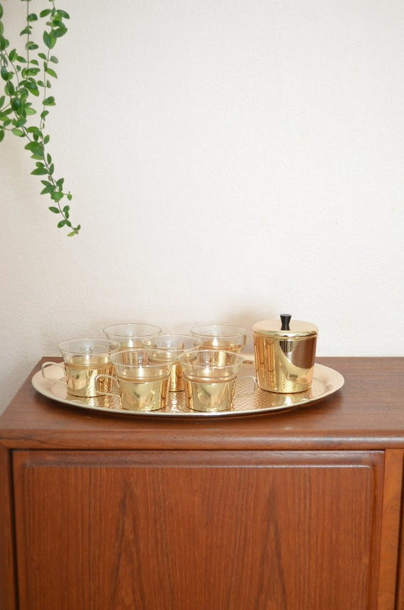 Mid century set tea glasses rosegold with tray gold glass sugar Bowl