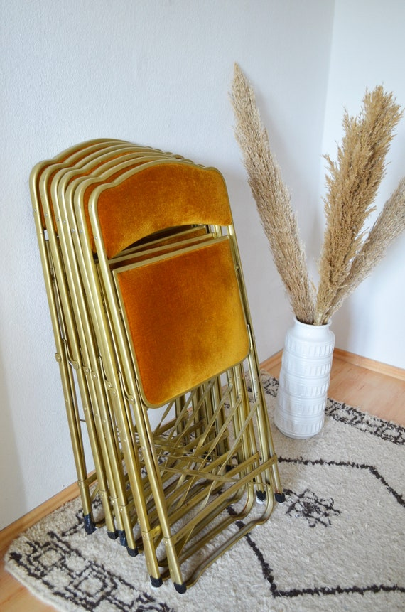 Vintage mid century chair folding chair gold terracotta velvet