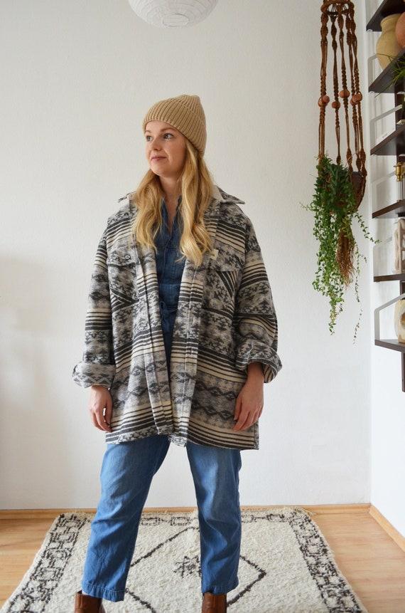 Vintage jacket wool Ikat Navajo boho black grey beige white M -L