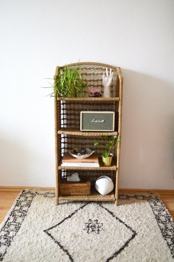 Foldable Sisal Regal Rattan wicker boho bookshelf book shelf