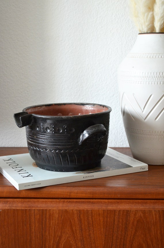 Vintage ceramic flower pot black boho