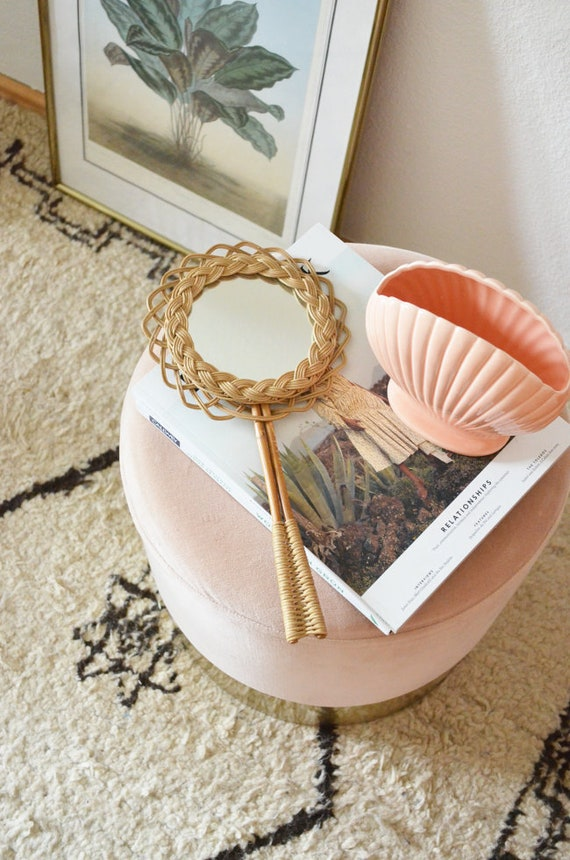 Small Vintage Mirror Hand Mirror Rattan and Bamboo