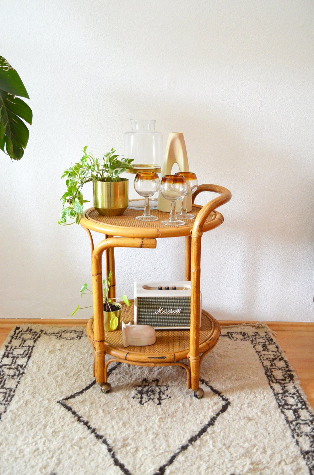 Bamboo Bar Cart Round Trolley Occasional Table Side Table Boho Rattan