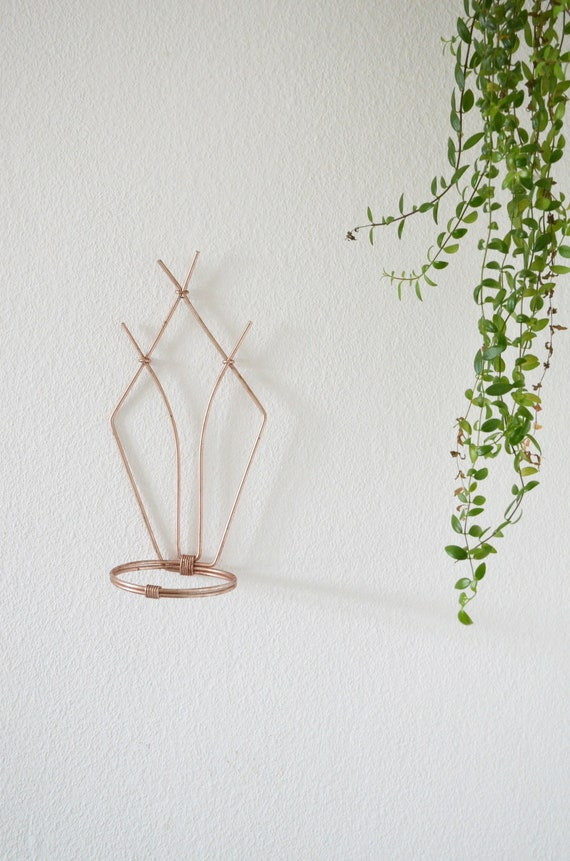 Vintage Mid century Flower holder for the Wall wall Planter rosegold
