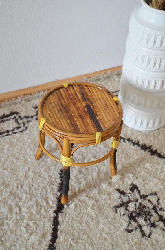Vintage rattan bamboo stool table side table plant stand wicker bamboo side table plant stand