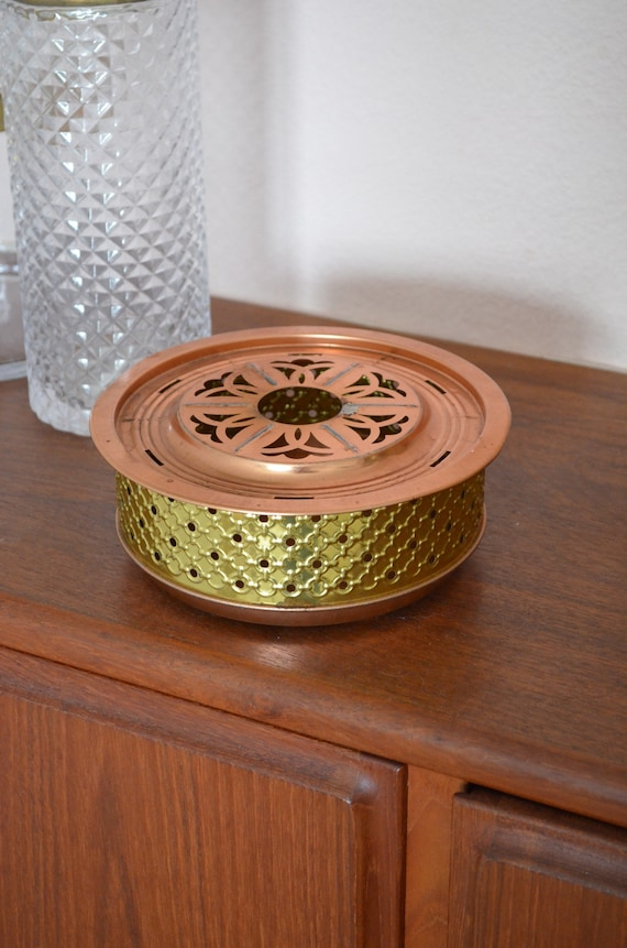 Vintage brass & copper sticks tea warmer pot warmer