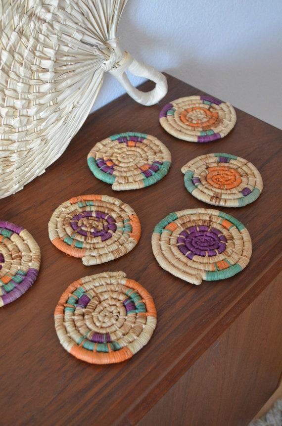 Set of 9 Sisal Rattan Coasters wicker basket coaster boho