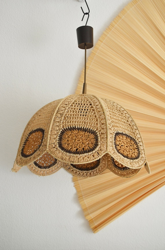 Rattan hanging lamp crocheted sisal round vintage lampshade wicker hanging lamp shade round boho